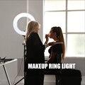ZOMEI с регулируемой яркостью светодиодное студийное кольцо для селфи освещение для фотосъемки лампа для макияжа с подставкой для камеры Фот...