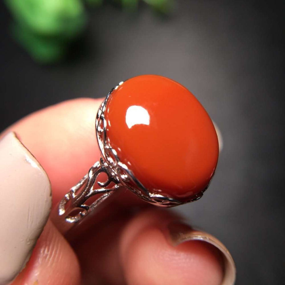 Natural South Red Agate Adjustable Ring Women Improve Immunity Love Gift 925 Sterling Silver 13.9x11.3mm Crystal Beads AAAAA Natural South Red Agate Adjustable Ring Women Improve Immunity Love Gift 925 Sterling Silver 13.9x11.3mm Crystal Beads AAAAA