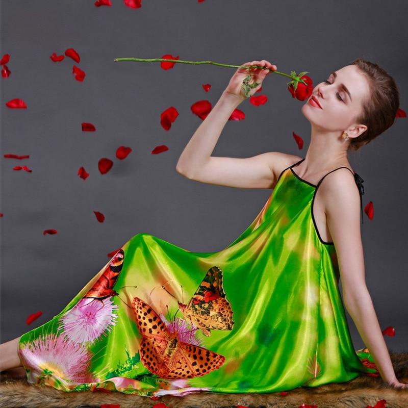 Silk Imitation Nightgown Dress New Summer Bath Robe Longue Pijama Women Nightwear Pijamas Mujer Femininos Plus Size 4XL XXXL