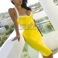 Латекс фетиш платья сексуальный стиль для взрослых рукавов сексуальная резина Желтый цвет