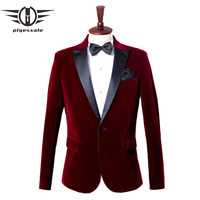 Plyesxale Burgundy Royal Blue Velvet Blazer Men Shawl Collar Designs Mens Casual Blazers Jacket Male Stage Wedding Blazer Q460