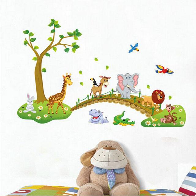 Hot Funny Safari Animals Bridge Wall Stickers Nursery Decor Baby Kids Art Mural Removable