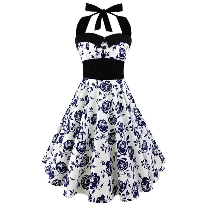 Venta caliente vestido Halter verano mujeres 2018 sin mangas estampado Floral mujer elegante Vintage vestidos Retro Rockabilly vestido de fiesta de graduación
