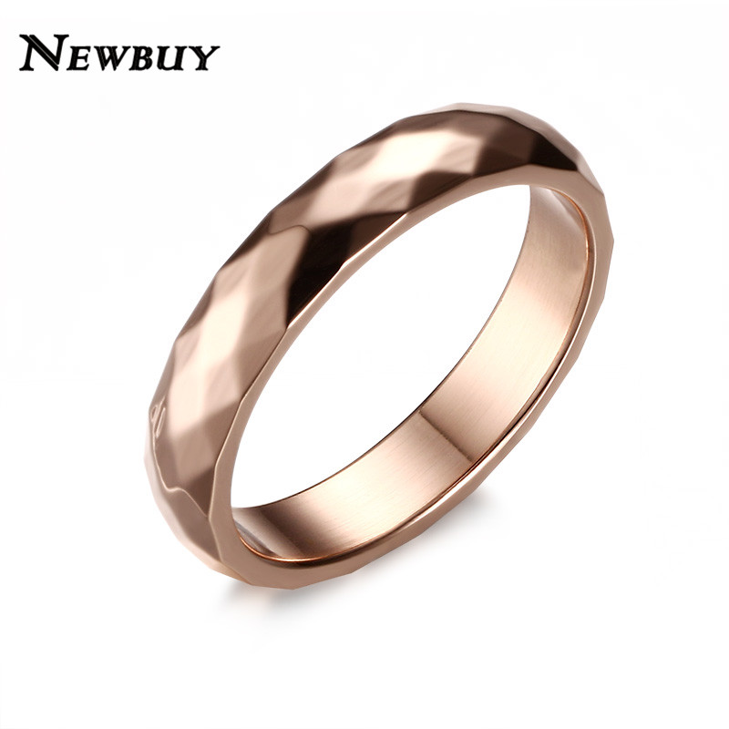 e50c75b7cbe NEWBUY 4mm Stainless Steel Ring For Women Fashion Rose Gold Color Female  Party Jewelry Wedding Ring