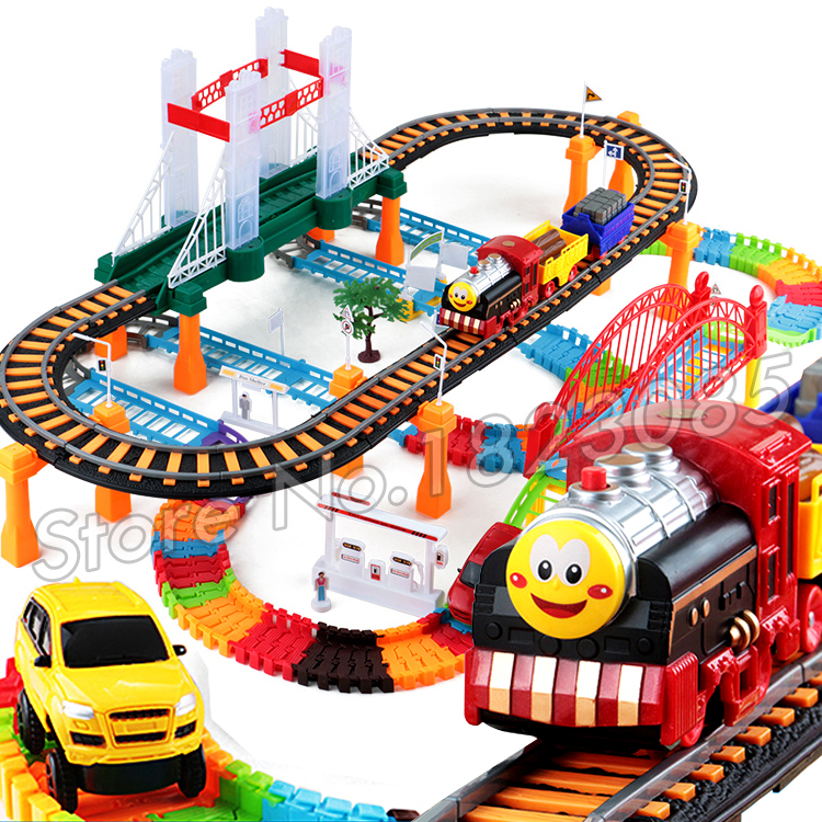 155pcs 3D Two-Layer Thomas Trains Spiral Wheels Track Roller Electric Flashing Rail Car Thomas And Friends Track slot runway Toy
