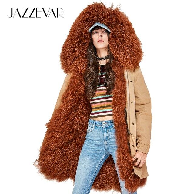 Jazzevar новые женские Модные роскошный овчины овечьей шерстью парка миди Монголия овечьем меху пальто с капюшоном верхняя одежда зимняя куртка