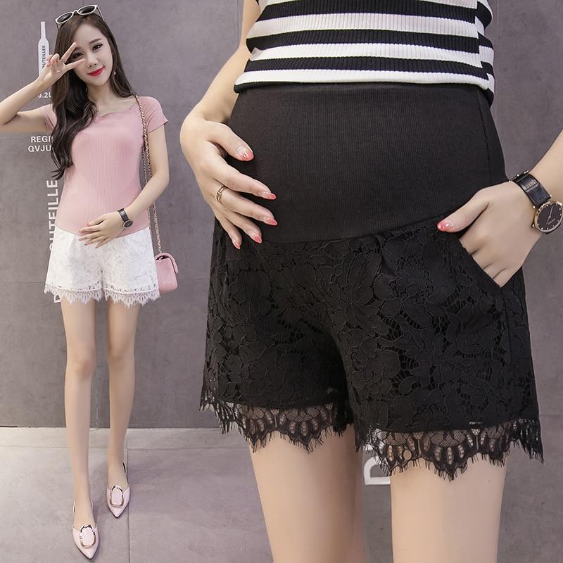 Лидер продаж, летние шорты для беременных женщин, хлопковые Лоскутные кружевные шорты с высокой талией, шорты для беременных, милые короткие штаны