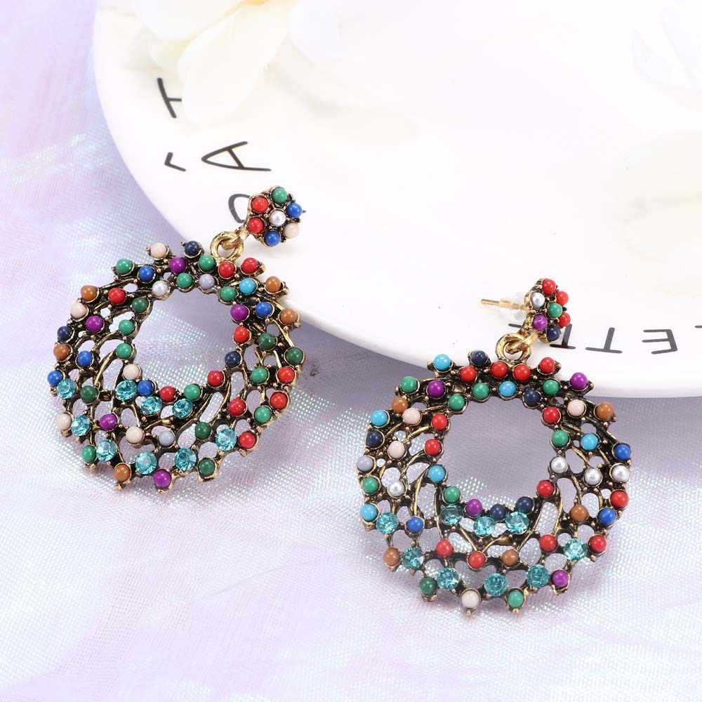 Vintage Style Earrings Color Beads Hollow Round Hoop Earrings Fashion Ethnic Bohemian 2019 New