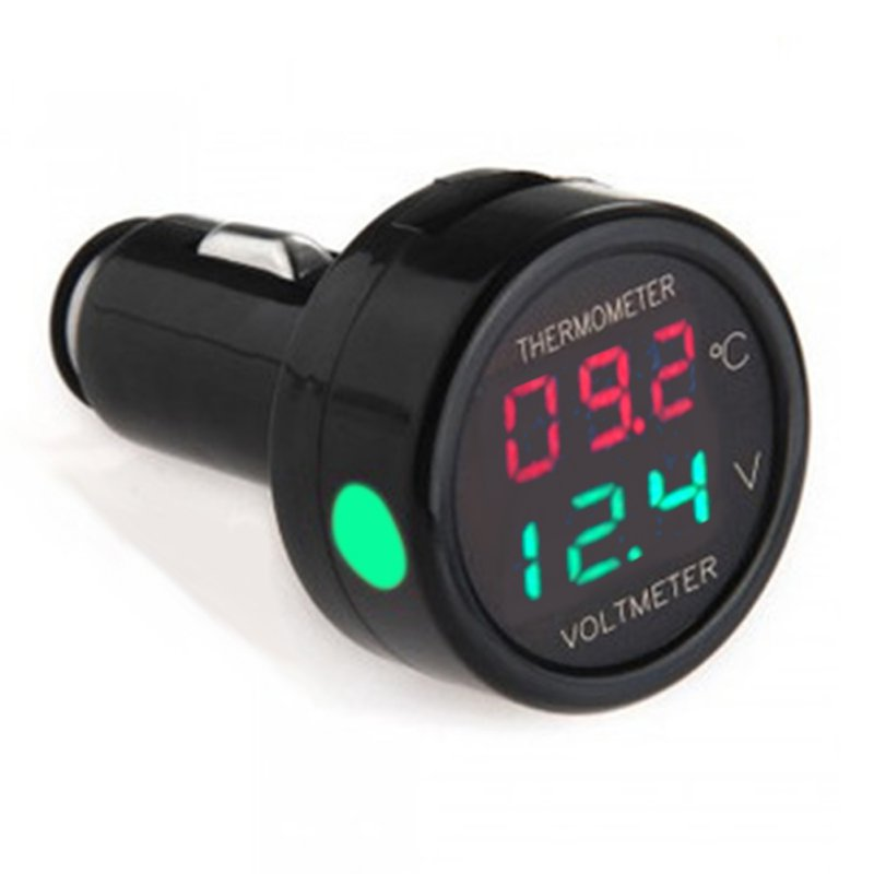1pc 2 In 1 Car Auto 12v Dual Display Led Digital Thermometer Voltmeter 3 Colors Voltage Meters