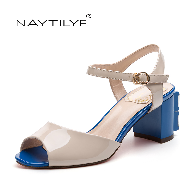 Woman Shoes PU ECO Leather High heels sandals for woman Fashion Summer Square heel 36-41 Free shipping NAYTILYE