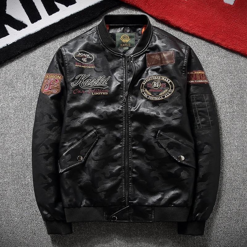 b4c9e896c US $40.3 35% OFF|YuWaiJiaRen Men's Leather Jackets Spring Autmn Fashion  Embroidery Motorcycle Hip Hop Streetwear Bomber Jacket Flight Pilot Coat-in  ...