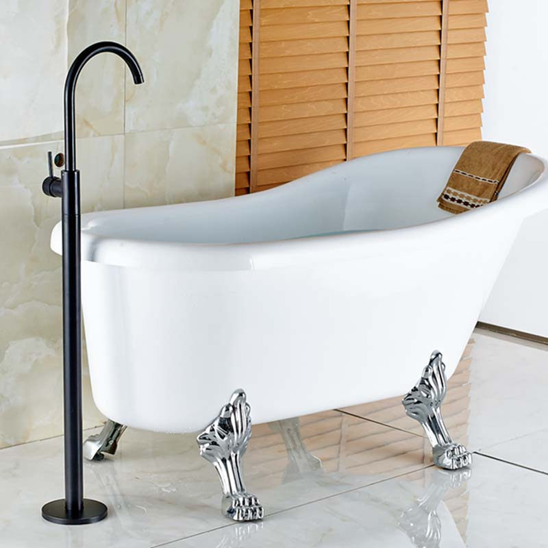 Modern Oil Rubbed Bronze Bathroom Floor Mounted Tub Faucet Tub ...
