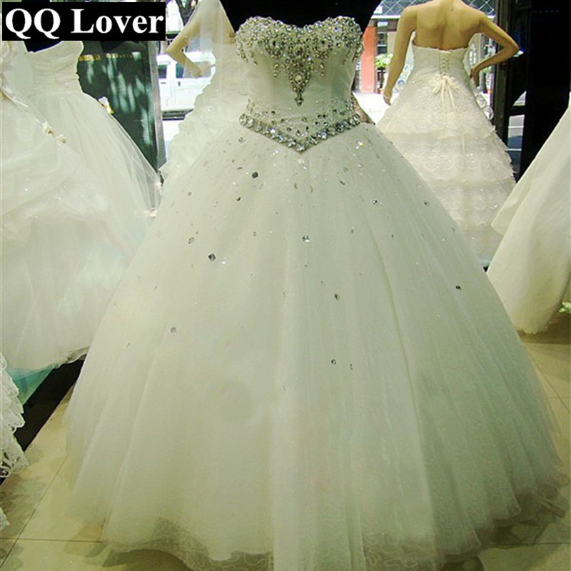 QQ Lover 2019 New Sexy Beaded Wedding Dress Cheap Custom-made Plus Size Bride Wedding Gown Vestido De Noiva