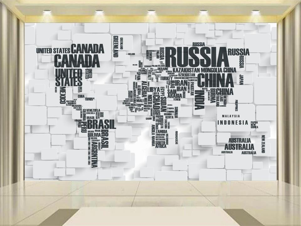 Custom Mural Photo 3d Wallpaper Living Room Black And White Digital World Map Painting Sofa Tv Background Wall Non Woven Sticker In Wallpapers From
