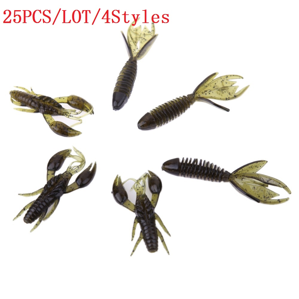 25pcs/Lot Soft sea fishing lure carp fishing tackle jig swivel lures 4 styles fishing kit silicone bait protein soft worm shrimp sealurer soft lure 6pcs lot 2 2g 75mm for fishing shad fishing worm swimbaits jig head soft lure fly fishing bait fishing lures