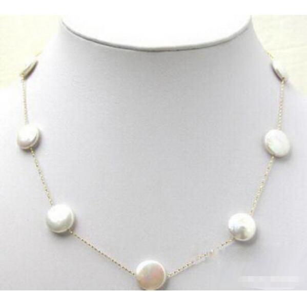 Горячие продажи новый Стиль>>>>> Подлинная Белый Кнопка Перлы Монета 925 Цепи Стерлингового Серебра Застежка Ожерелья