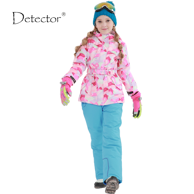 Detector Girls ski jacket Winter Outdoor Children Clothing Set Windproof Ski Jackets + Pants Kids  Warm Skiing Suit For Girls 6 inch 2 in 1 desktop clock display fan usb 2 speed 5 mini fanfutural digital drop shipping augg18
