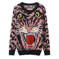 2019 Spring Casual Knitting Tiger Pattern Sweater Women Pink Pullovers Long Sleeve Winter Fashion Sweaters