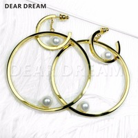 Jewelry & Accessories Gift Fashion luxury Pearl Pendants Large and Small Circle Earring For Women Party Gift