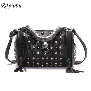 Rdywbu Genuine Leather Tassels Skull Handbag Women Luxury Rock Rivet Punk Shoulder Bag Black Sheepskin Messenger Travel Bag B547 popular rock style natural sheepskin women backpack fashion rivets women s travel bags casual patchwork genuine leather bag
