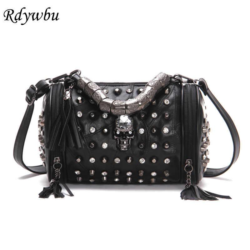 44b22bd88b1b Rdywbu пояса из натуральной кожи кисточки череп сумки для женщин Роскошные  рок заклепки панк сумка черный