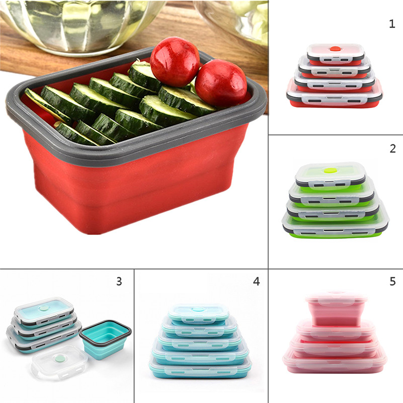 1PCS Fashionable U0026 Stackable Food Storage Containers, Silicone Collapsible  Lunch Bento Box, Freezer To Microwave Oven Safe