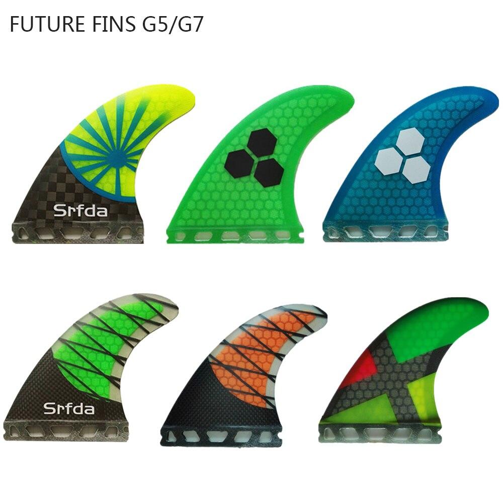 14 colores futuro aletas G5/G7 surf de remo de nido de abeja de fibra de vidrio de las aletas de tabla de surf de Fin de Color puro Fcs aletas 3 Unid por conjunto Quilhas un