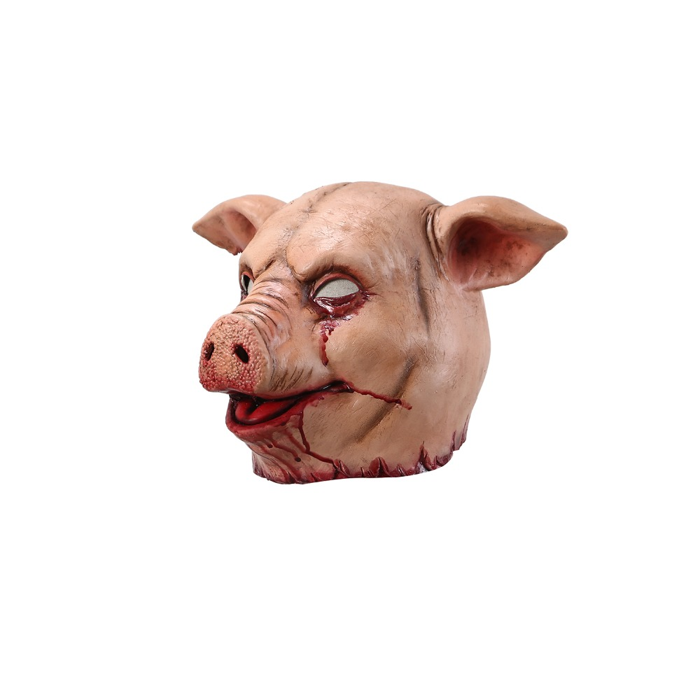 Horror Pig Overhead Animal Mask Latex Pig Mask Halloween Costume Scary Saw Pig Mask Full Head Horror Evil Animal Prop in Party Masks from Home Garden