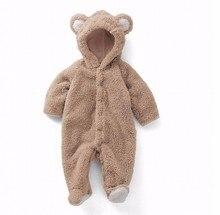 Детский комбинезон для новорожденных, зимний костюм, одежда для маленьких мальчиков, коралловый флис, теплая одежда для маленьких девочек, комбинезон с животными, детский комбинезон