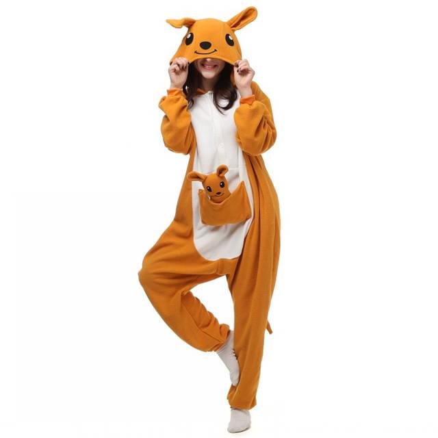 Christmas Kangaroo Cartoon.Us 24 65 15 Off Unisex Adults Yellow Kangaroo Cartoon Costume Pajama Halloween Christmas Onesies Unisex Teenagers Famous Cartoon Lounge Wear In
