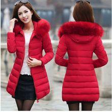 2018 Winter Women Hooded Coat Fur Collar Thicken Warm Long Jacket women's coat girls long slim big fur coat jacket Down Parka