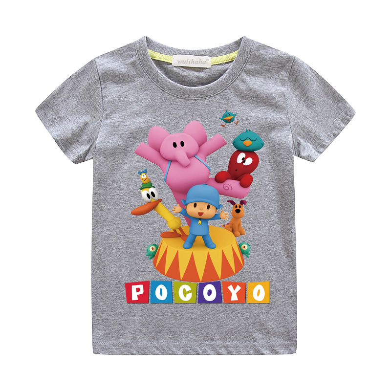 Girls Cute Cartoon Pocoyo Print T-shirts Costume Boys Short Sleeve Tshirts Clothing Children Summer Casual Tee Top Clothes ZA064 (9)