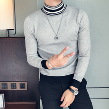 High Quality Sweater Men Brand New Slim Fit Turtleneck Long Sleeve Korean Winter Warm Stripe Patchwork High Collar Mens Sweaters