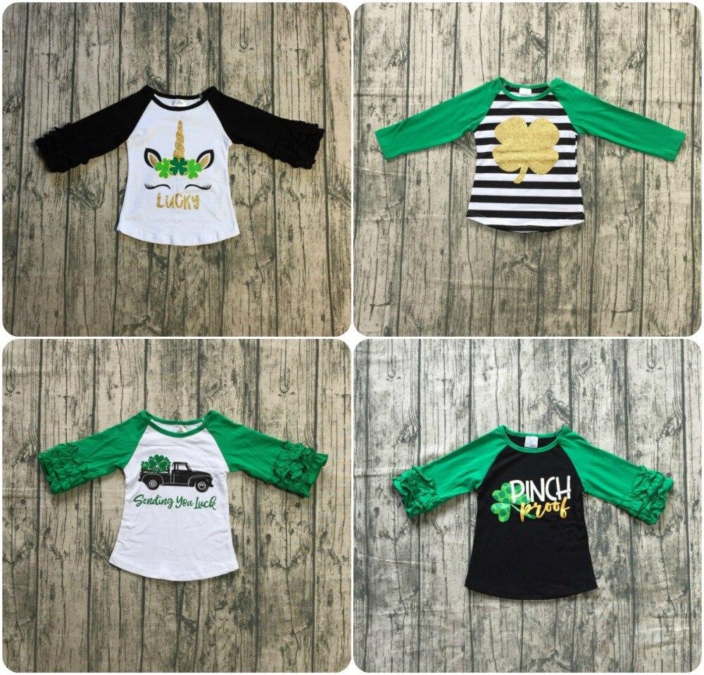 b0a2ae92c St. Patrick's Day baby girls stripe gold shamrocks cotton boutique top T-shirt  raglans