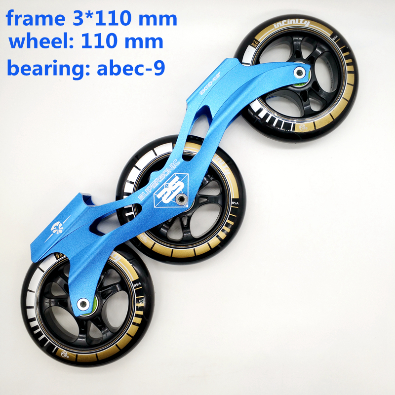 Free Shipping Speed Skates Frame 3x110 With Wheels Abec-9