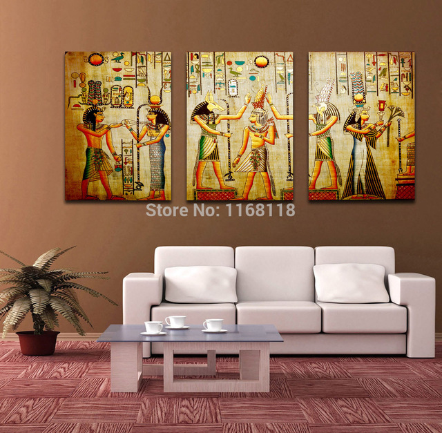 Modern Living Room Escape free shipping triple abstract no frame picture egyptian mural room