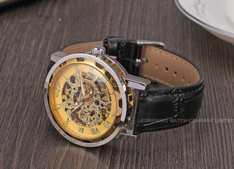 Winner Men Automatic Watch Silver and Gold Case Gold Dial Gold Numerals