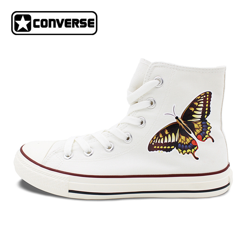 White Converse Chuck Taylor Skateboarding Shoes Original Design Butterfly Canvas Sneakers High Top Flats Brand All Star converse all star high top shoes for men women dreamcatcher design flats lace up canvas sneakers for gifts