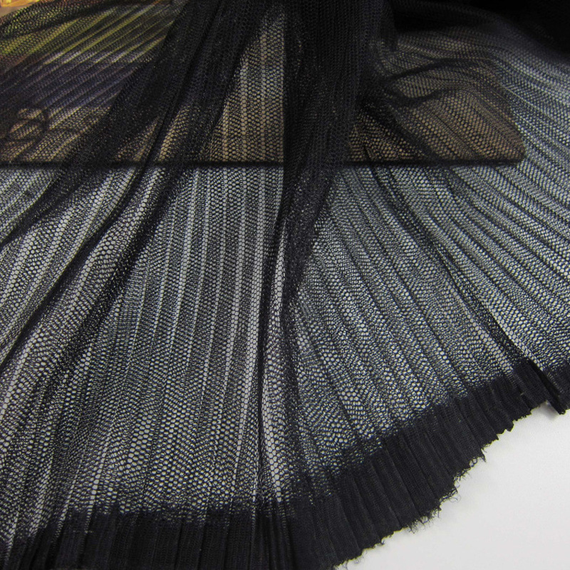 10 Metres 150cm Width White Black Pleated Crushed Mesh Fabric Ruffle Crumpled Tulle Net Fabric For