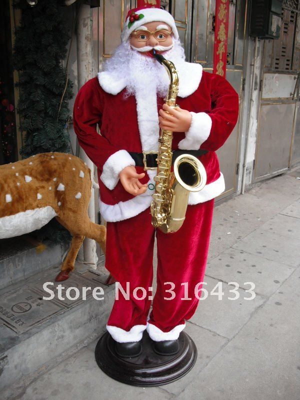 FREE SHIPPING Christmas Ornament Electric DANCING Saxophone SANTA Claus 70 H In Christmas From