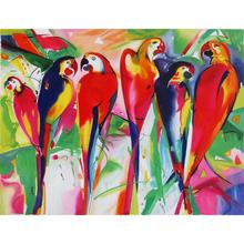 Parrot Family,Alfred Gockel painting,reproduction art on canvas,High quality