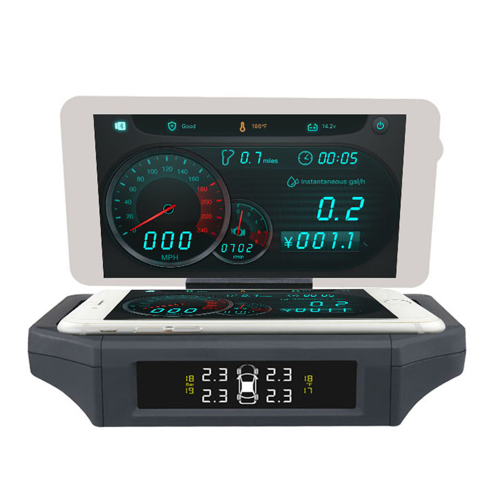 AUTOOL X360 TPMS Car Tire Pressure Monitor System TPMS HUD OBD Head Up Display Multi-Functions Phone Holder Bracket 4f car obd2 ii manual switch hud overspeed warning windshield projector alarm system head up display interior lighting