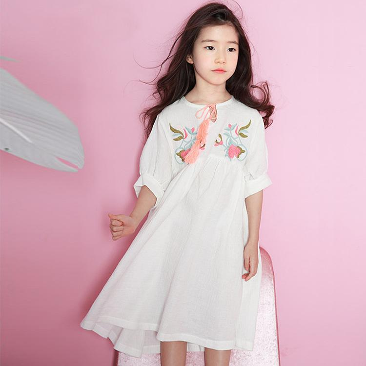 a051f9d1362 Everweekend Girls Vintage Floral Embroidered Ruffles Summer Dress Western  Princess Yellow and White Color Sweet Baby Dress -in Dresses from Mother    Kids on ...
