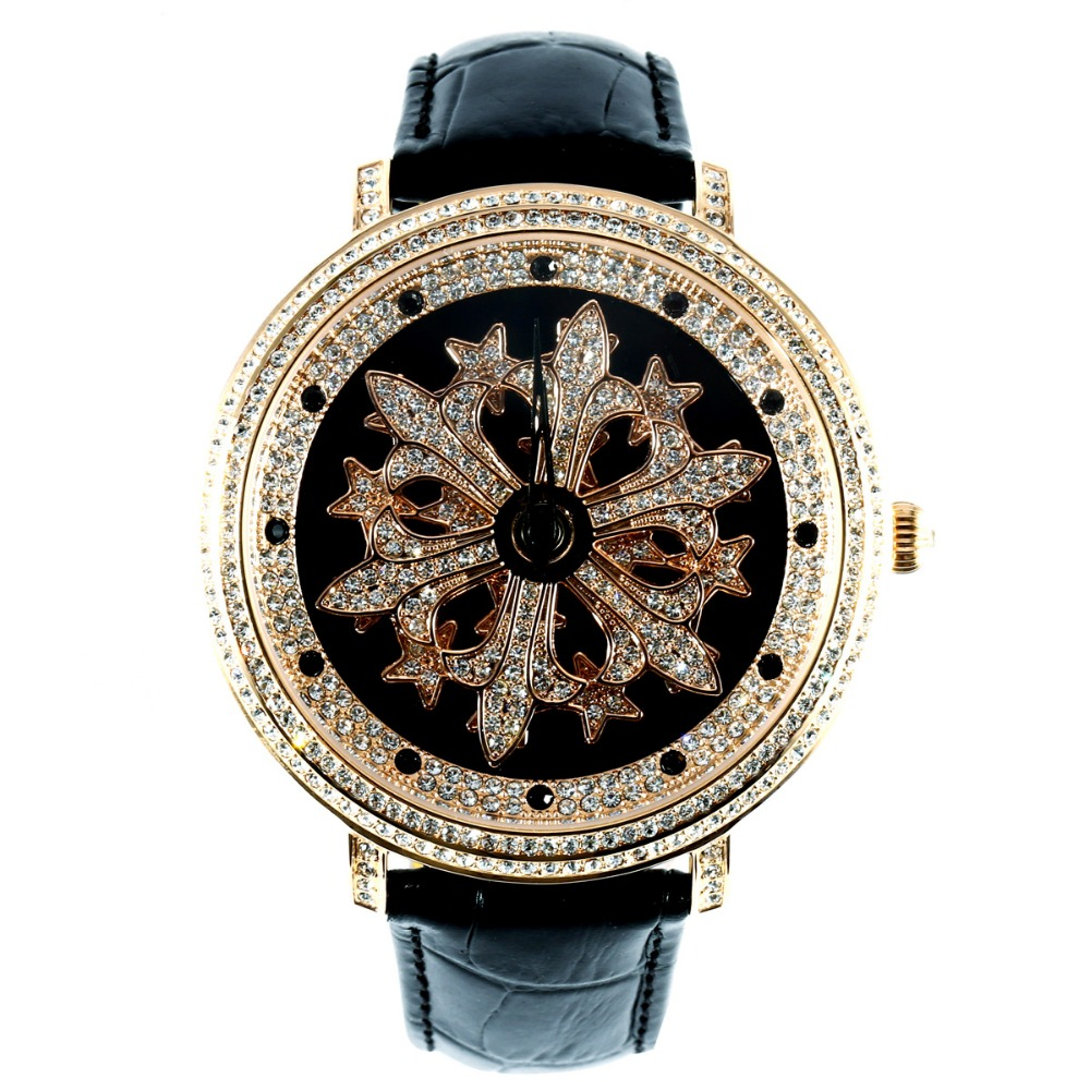 MATISSE Fashion Austria Crystal Snowflake Rotatable Dial Leather Strap Buiness Quartz Watch Wristwatch - Rosegold hot selling fine workmanship high quality fashion modern shoes stool fabric creative footstool living room sofa stool ottoman
