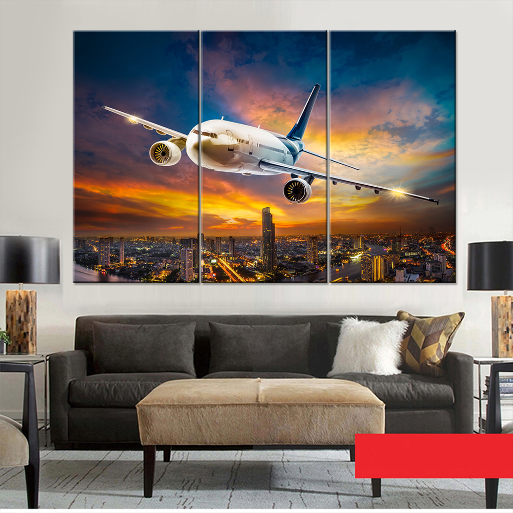 Modular Canvas Art Poster Printing HD Aviation Aircraft Living Room Home Wall Decoration Framework Painting Pictures Type in Painting Calligraphy from Home Garden