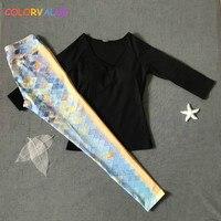 Colorvalue 2Pcs Set Fitness Yoga Sets Women Sport Jogging Suit Removable Pads T Shirt Retro Printed