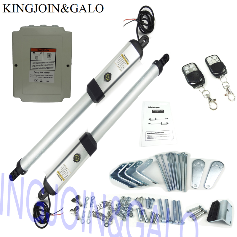AC220V Automation Electric Swing Gate Opener Driving total 400 KG Gate Motor With 4 Remote Control 1 keypad 1pair photocell Kits galo 300 kg double arms swing gate opener door motor kit with 1 pair of photocells 1 alarm light