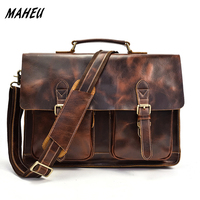 Men's High Quality Genuine Leather Laptop Bags 15 Cow Leather Business Bags Messenger Bag Brown Real Leather Office Briefcase