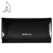 Beth cat Women Wallets Genuine Leather Coin Purse Famous Brand Long Womens Purses Luxury Brand Real Leather Wallet