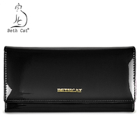 Beth Cat Women Wallets Genuine Leather Coin Purse Famous Brand Long Womens Purses Luxury Brand Real